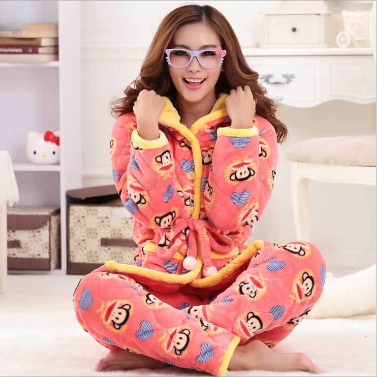 Pyjama-d-hiver-nouvelle-2015-coton-épaisse-toison-chaude-pyjama-femme-capuche-accueil-vêtements-pour-vêtements