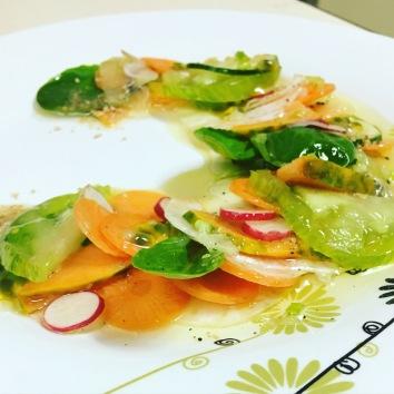 Son carpaccio aux légumes et fruits (Photo: Caroline Durand)